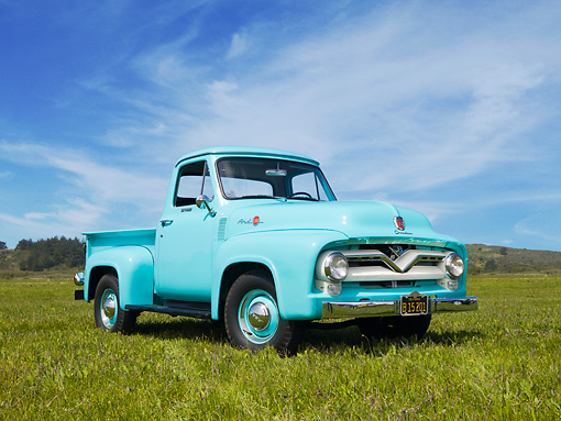 AUT 14 RK1492 01 © Kimball Stock 1955 Ford F-100 Pickup Truck Sea Foam Green 3/4 Front View On Grass