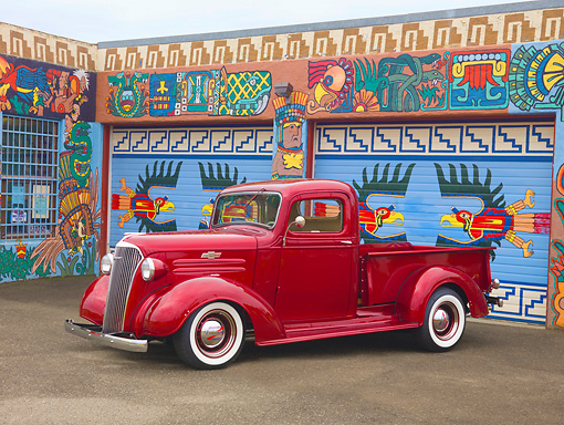 AUT 14 RK1503 01 © Kimball Stock 1937 Chevrolet Pickup Truck Red 3/4 Front View On Pavement By Colorful Garage