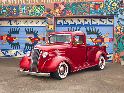 AUT 14 RK1504 01 © Kimball Stock 1937 Chevrolet Pickup Truck Red 3/4 Front View On Pavement By Colorful Garage
