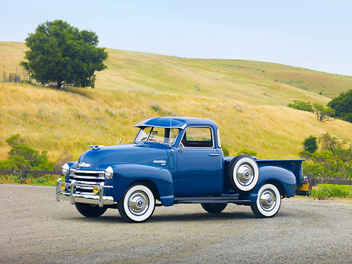 AUT 14 RK1508 01 © Kimball Stock 1950 Chevrolet 3100 Pickup Truck Blue 3/4 Front View On Pavement By Hills