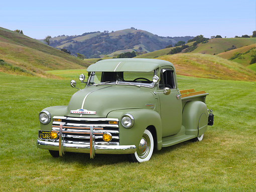 AUT 14 RK1512 01 © Kimball Stock 1950 Chevrolet 3100 Pickup Truck Green 3/4 Front View On Grass By Trees