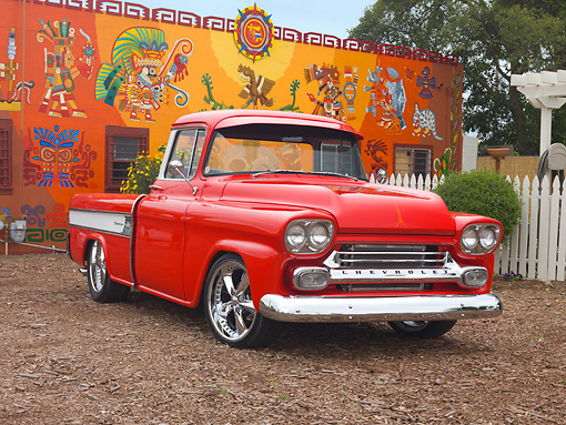 AUT 14 RK1519 01 © Kimball Stock 1958 Chevrolet Cameo Pickup Truck Red 3/4 Front View By Colorful Building
