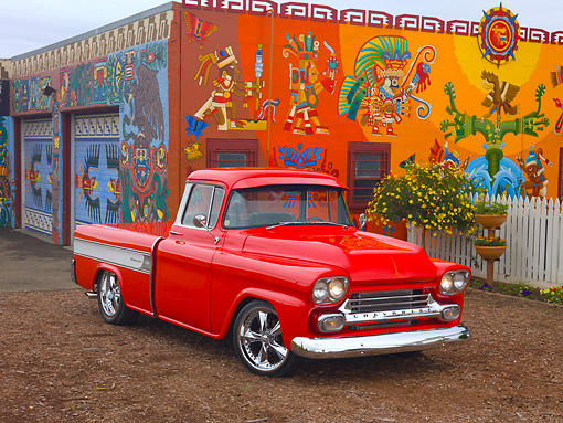 AUT 14 RK1521 01 © Kimball Stock 1958 Chevrolet Cameo Pickup Truck Red 3/4 Front View By Colorful Building