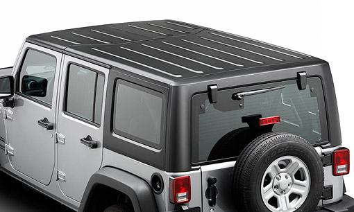 AUT 15 BK0045 01 © Kimball Stock 2013 Jeep Wrangler Sport Unlimited Silver Overhead Rear View On White Seamless