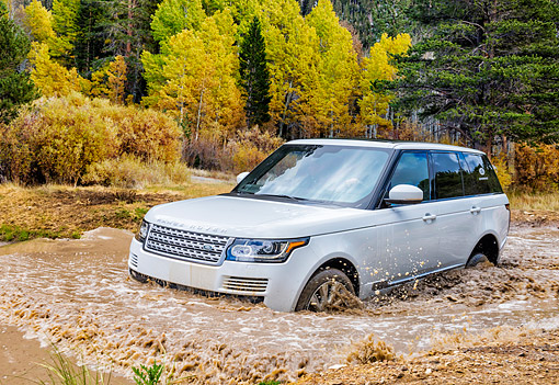 AUT 15 BK0057 01 © Kimball Stock 2015 Range Rover White 3/4 Front View Driving Through Muddy Water In Forest