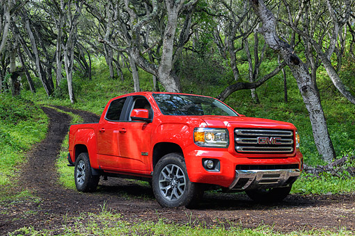AUT 15 BK0062 01 © Kimball Stock 2015 GMC Canyon Pickup Red 3/4 Front View On Dirt Road In Forest