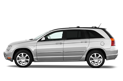 AUT 15 IZ0677 01 © Kimball Stock 2009 Chrysler Pacifica Touring Silver Profile View Studio