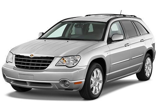AUT 15 IZ0678 01 © Kimball Stock 2009 Chrysler Pacifica Touring Silver 3/4 Front View Studio