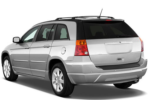 AUT 15 IZ0681 01 © Kimball Stock 2009 Chrysler Pacifica Touring Silver 3/4 Rear View Studio
