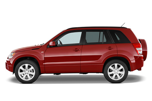 AUT 15 IZ0700 01 © Kimball Stock 2010 Suzuki Grand Vitara Red Profile View Studio