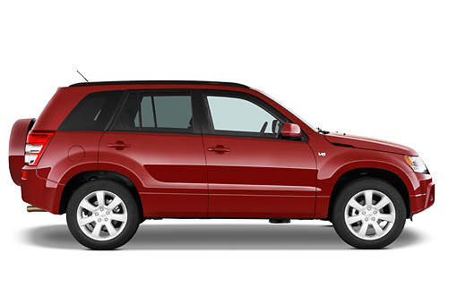 AUT 15 IZ0701 01 © Kimball Stock 2010 Suzuki Grand Vitara Red Profile View Studio