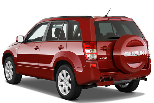 AUT 15 IZ0705 01 © Kimball Stock 2010 Suzuki Grand Vitara Red 3/4 Rear View Studio