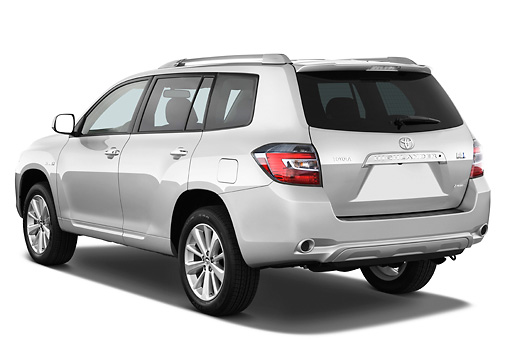 AUT 15 IZ0713 01 © Kimball Stock 2010 Toyota Highlander Hybrid Limited Silver 3/4 Rear View Studio