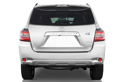 AUT 15 IZ0714 01 © Kimball Stock 2010 Toyota Highlander Hybrid Limited Silver Rear View Studio