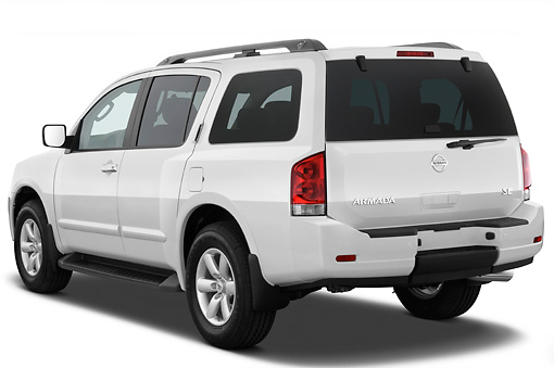 AUT 15 IZ0775 01 © Kimball Stock 2013 Nissan Armada SE White 3/4 Rear View Studio
