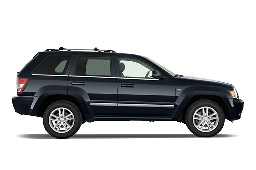 AUT 15 IZ0779 01 © Kimball Stock 2010 Jeep Grand Cherokee Blue Profile View Studio
