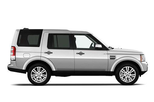 AUT 15 IZ0816 01 © Kimball Stock 2013 Land Rover LR4 Silver Profile View On White Seamless