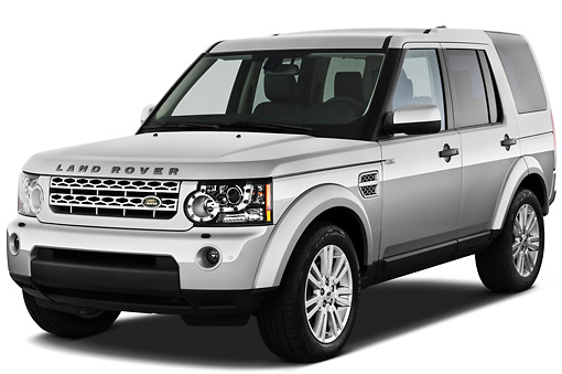 AUT 15 IZ0817 01 © Kimball Stock 2013 Land Rover LR4 Silver 3/4 Front View On White Seamless
