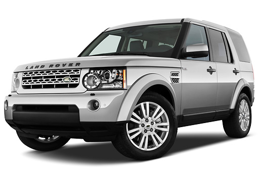 AUT 15 IZ0819 01 © Kimball Stock 2013 Land Rover LR4 Silver 3/4 Front View On White Seamless
