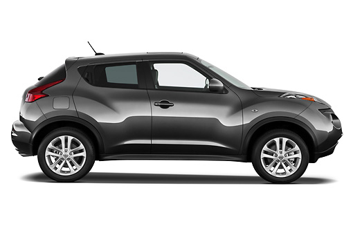 AUT 15 IZ0843 01 © Kimball Stock 2013 Nissan Juke SV SUV Gray Profile View On White Seamless