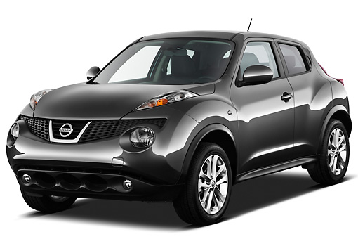 AUT 15 IZ0844 01 © Kimball Stock 2013 Nissan Juke SV SUV Gray 3/4 Front View On White Seamless