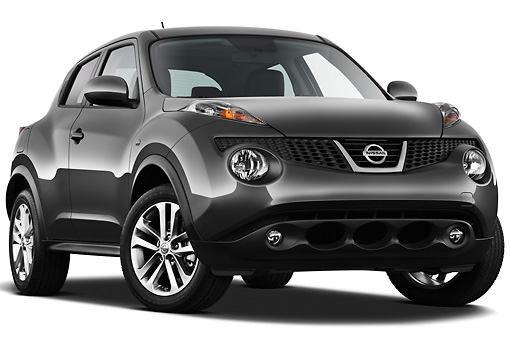 AUT 15 IZ0845 01 © Kimball Stock 2013 Nissan Juke SV SUV Gray 3/4 Front View On White Seamless