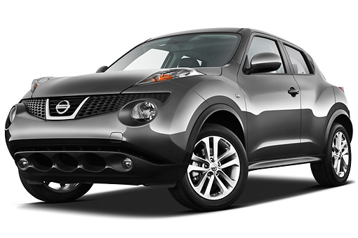 AUT 15 IZ0846 01 © Kimball Stock 2013 Nissan Juke SV SUV Gray 3/4 Front View On White Seamless