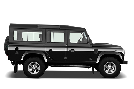 AUT 15 IZ0851 01 © Kimball Stock 2013 Land Rover Defender 110 SW SE SUV Black Profile View On White Seamless