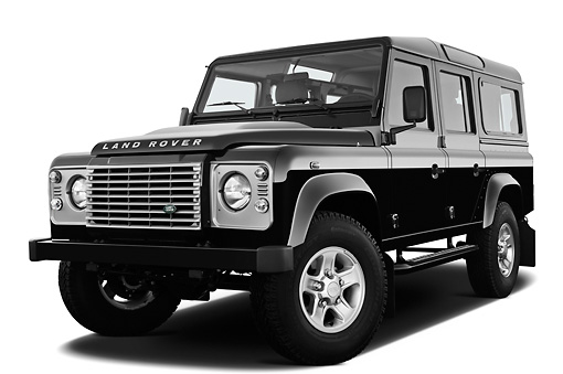 AUT 15 IZ0853 01 © Kimball Stock 2013 Land Rover Defender 110 SW SE SUV Black 3/4 Front View On White Seamless