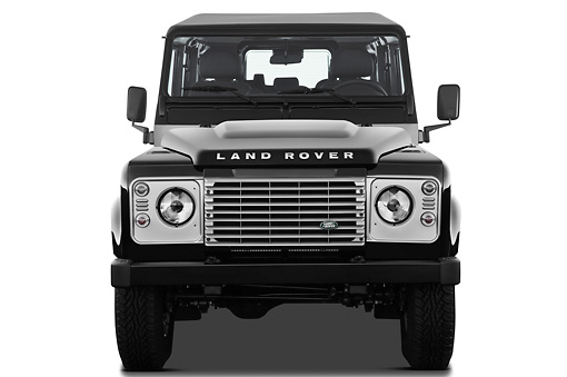 AUT 15 IZ0856 01 © Kimball Stock 2013 Land Rover Defender 110 SW SE SUV Black Front View On White Seamless