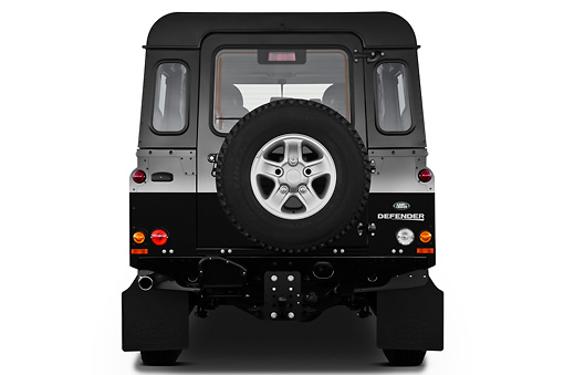 AUT 15 IZ0857 01 © Kimball Stock 2013 Land Rover Defender 110 SW SE SUV Black Rear View On White Seamless