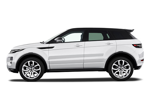 AUT 15 IZ0858 01 © Kimball Stock 2013 Land Rover Range Rover Evoque SUV White Profile View On White Seamless