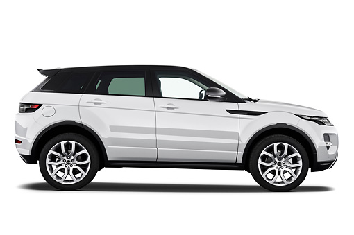 AUT 15 IZ0859 01 © Kimball Stock 2013 Land Rover Range Rover Evoque SUV White Profile View On White Seamless