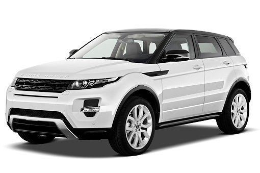AUT 15 IZ0860 01 © Kimball Stock 2013 Land Rover Range Rover Evoque SUV White 3/4 Front View On White Seamless