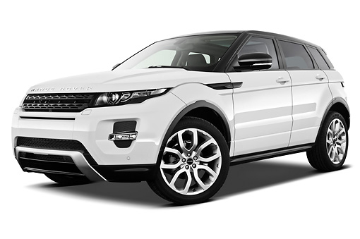 AUT 15 IZ0861 01 © Kimball Stock 2013 Land Rover Range Rover Evoque SUV White 3/4 Front View On White Seamless