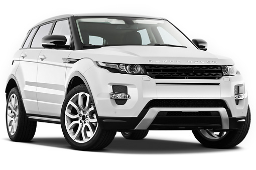 AUT 15 IZ0862 01 © Kimball Stock 2013 Land Rover Range Rover Evoque SUV White 3/4 Front View On White Seamless