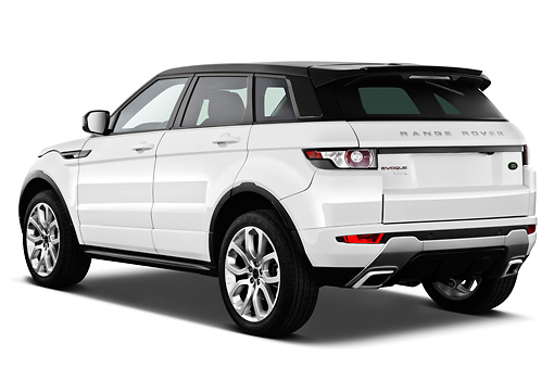 AUT 15 IZ0863 01 © Kimball Stock 2013 Land Rover Range Rover Evoque SUV White 3/4 Rear View On White Seamless