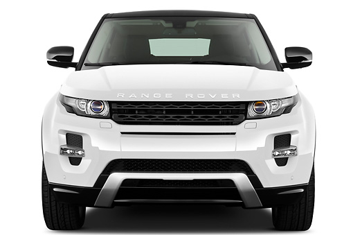 AUT 15 IZ0864 01 © Kimball Stock 2013 Land Rover Range Rover Evoque SUV White Front View On White Seamless