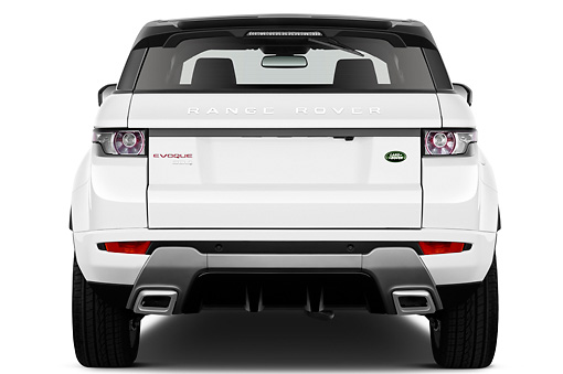 AUT 15 IZ0865 01 © Kimball Stock 2013 Land Rover Range Rover Evoque SUV White Rear View On White Seamless
