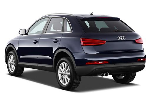 Audi Q SUV Blue Rear View On White Seamless Kimballstock - Audi 3 suv