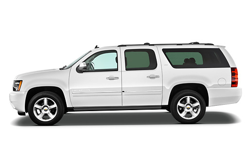 AUT 15 IZ0874 01 © Kimball Stock 2013 Chevrolet Suburban LTZ White Profile View On White Seamless