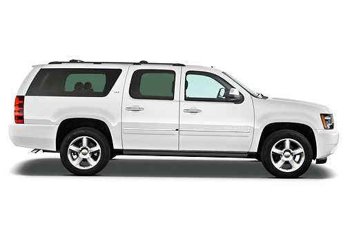AUT 15 IZ0875 01 © Kimball Stock 2013 Chevrolet Suburban LTZ White Profile View On White Seamless
