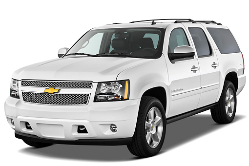 AUT 15 IZ0876 01 © Kimball Stock 2013 Chevrolet Suburban LTZ White 3/4 Front View On White Seamless