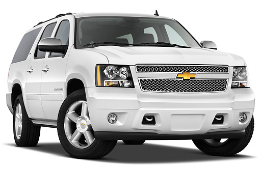AUT 15 IZ0877 01 © Kimball Stock 2013 Chevrolet Suburban LTZ White 3/4 Front View On White Seamless
