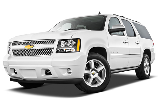 AUT 15 IZ0878 01 © Kimball Stock 2013 Chevrolet Suburban LTZ White 3/4 Front View On White Seamless