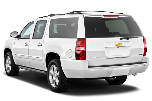 AUT 15 IZ0879 01 © Kimball Stock 2013 Chevrolet Suburban LTZ White 3/4 Rear View On White Seamless