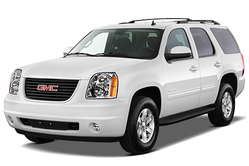 AUT 15 IZ0884 01 © Kimball Stock 2012 GMC Yukon SLE White 3/4 Front View On White Seamless