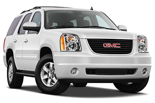 AUT 15 IZ0885 01 © Kimball Stock 2012 GMC Yukon SLE White 3/4 Front View On White Seamless