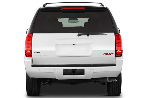 AUT 15 IZ0888 01 © Kimball Stock 2012 GMC Yukon SLE White Rear View On White Seamless