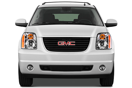 AUT 15 IZ0889 01 © Kimball Stock 2012 GMC Yukon SLE White Front View On White Seamless